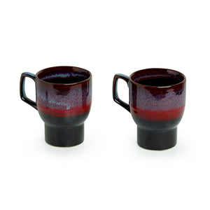 'Crimson Caldera' Hand Glazed Studio Pottery Ceramic Coffee & Tea Mugs (Set Of 2)