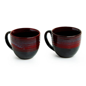 'Crimson Lava Dome' Hand Glazed Studio Pottery Ceramic Coffee & Tea Mugs (Set Of 2)