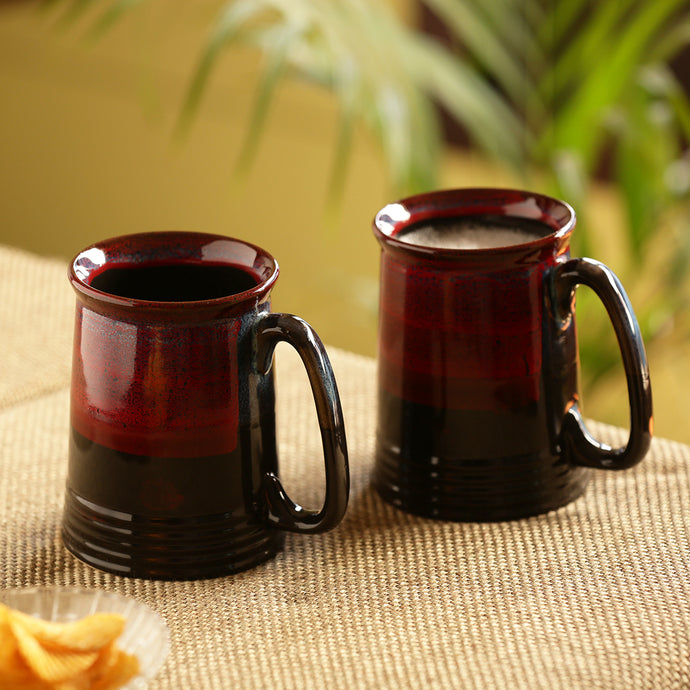 'Crimson Inquisitiveness' Hand Glazed Studio Pottery Ceramic Beer & Milk Mugs (Set Of 2)