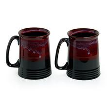 Load image into Gallery viewer, 'Crimson Inquisitiveness' Hand Glazed Studio Pottery Ceramic Beer & Milk Mugs (Set Of 2)