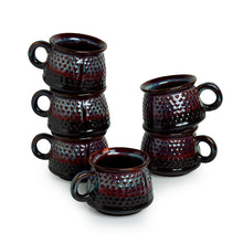 Load image into Gallery viewer, 'Dimples of Crimson' Hand Galzed Studio Pottery Ceramic Tea & Coffee Cups (Set Of 6)