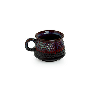 'Dimples of Crimson' Hand Galzed Studio Pottery Ceramic Tea & Coffee Cups (Set Of 6)