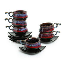 Load image into Gallery viewer, 'Crimson Mascarene' Hand Glazed Studio Pottery Ceramic Tea Cups & Saucers Set (Set Of 6)