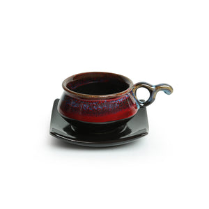 'Crimson Mascarene' Hand Glazed Studio Pottery Ceramic Tea Cups & Saucers Set (Set Of 6)