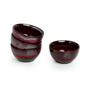 'Crimson Shields' Hand Glazed Studio Pottery Ceramic Dining Bowls Set (4 Inch, Set Of 4)