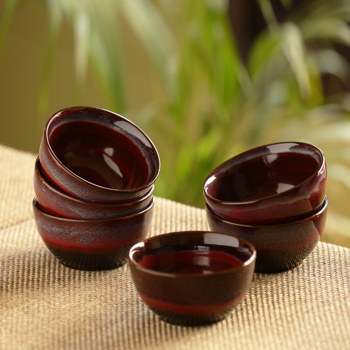 'Crimson Shields' Hand Glazed Studio Pottery Ceramic Dining Bowls Set (4 Inch, Set Of 6)