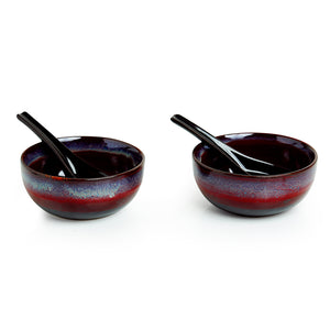'Magma Bowls' Hand Glazed Studio Pottery Ceramic Soup Bowls With Spoons (Set Of 2)