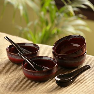 'Magma Bowls' Hand Glazed Studio Pottery Ceramic Soup Bowls With Spoons (Set Of 4)