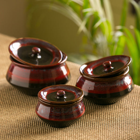 'Crimson Trio' Hand Glazed Studio Pottery Ceramic Serving Handis With Lids (Set Of 3)