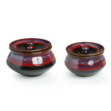Load image into Gallery viewer, 'Crimson Trio' Hand Glazed Studio Pottery Ceramic Serving Handis With Lids (Set Of 3)