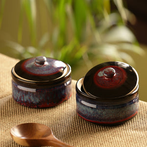 'Crimson Sky' Hand Glazed Studio Pottery Ceramic Serving Handis With Lids (Set Of 2)