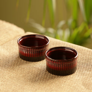 'Crimson Companion' Hand Glazed Studio Pottery Ceramic Dessert Bowls (Set Of 2)
