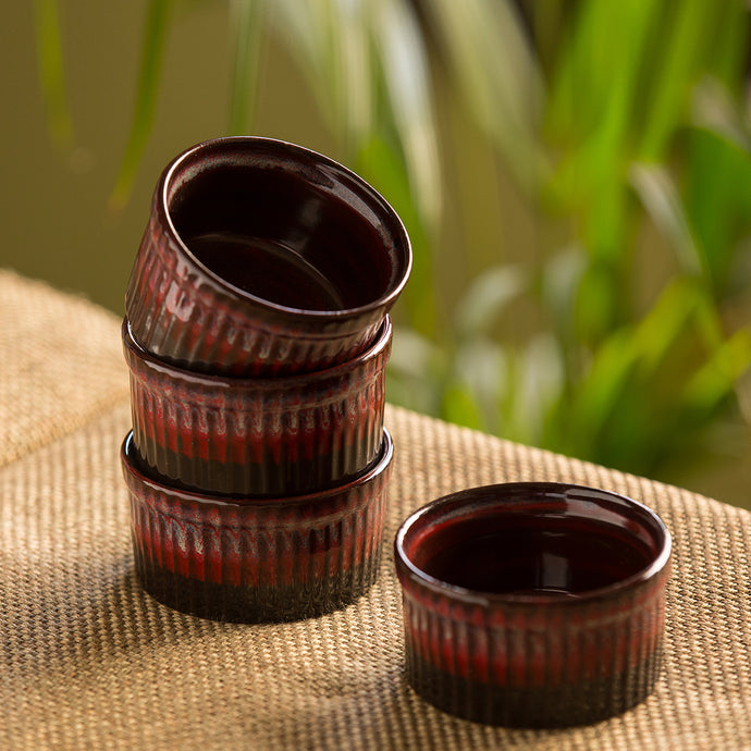 'Crimson Companion' Hand Glazed Studio Pottery Ceramic Dessert Bowls (Set Of 4)