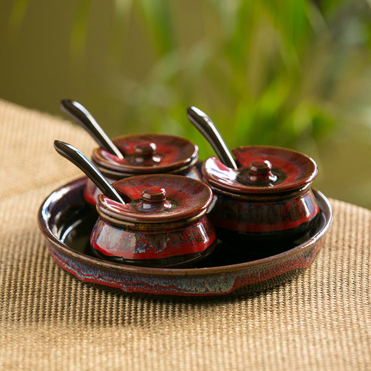 'Plenary Crimson' Hand Glazed Studio Pottery Ceramic Pickle Holder (Set Of 3)