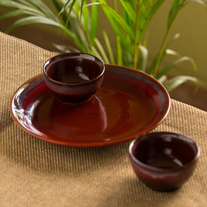 'Crimson Platter Pack' Hand Glazed Stuidio Pottery Ceramic Dining Plate With Serving Bowls Set