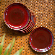 Load image into Gallery viewer, 'Crimson Frisbee' Hand Glazed Studio Pottery Ceramic Dining Plates (10 Inch, Set of 6)