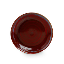 Load image into Gallery viewer, 'Crimson Frisbee' Hand Glazed Studio Pottery Ceramic Dining Plates (10 Inch, Set of 2)