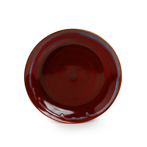 'Crimson Frisbee' Hand Glazed Studio Pottery Ceramic Dining Plates (10 Inch, Set of 2)