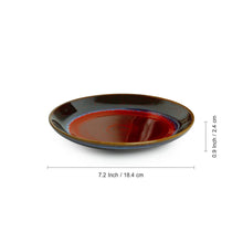 Load image into Gallery viewer, 'Crimson Frisbee' Hand Glazed Studio Pottery Ceramic Quarter Plates (7 Inch, Set of 2)