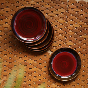 'Crimson Frisbee' Hand Glazed Studio Pottery Ceramic Quarter Plates (7 Inch, Set of 6)
