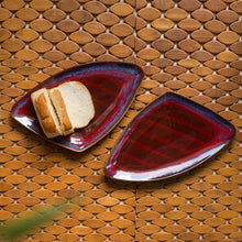 Load image into Gallery viewer, 'Crimson Triangular Pair' Hand Glazed Studio Pottery Ceramic Serving Platter (Set Of 2)