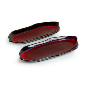 'Crimson Canoe' Hand Glazed Studio Pottery Ceramic Serving Platter (Set Of 2)