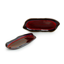 Load image into Gallery viewer, 'Crimson Canoe' Hand Glazed Studio Pottery Ceramic Serving Platter (Set Of 2)