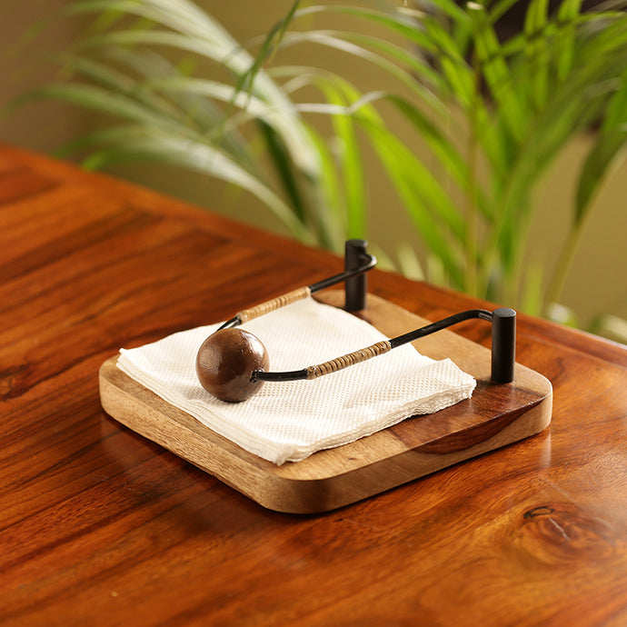 Cane Handwoven Napkin Holder In Sheesham Wood & Iron