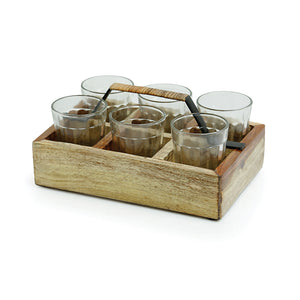 Cane Handwoven Tea Glasses Set In Sheesham Wood & Iron (Set of 6)