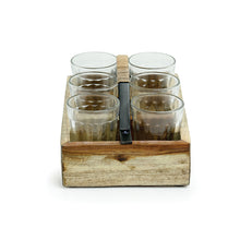 Load image into Gallery viewer, Cane Handwoven Tea Glasses Set In Sheesham Wood & Iron (Set of 6)