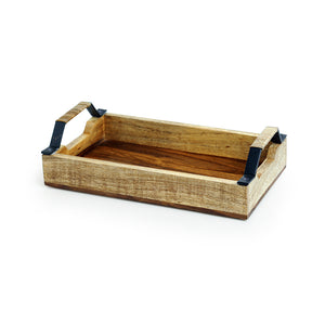 Cane Handwoven Serving Tray In Sheesham Wood & Iron
