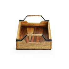Load image into Gallery viewer, Cane Handwoven Serving Tray In Sheesham Wood & Iron