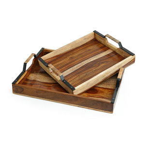Cane Handwoven Nested Serving Trays Set In Sheesham Wood & Iron ( Set of 2)