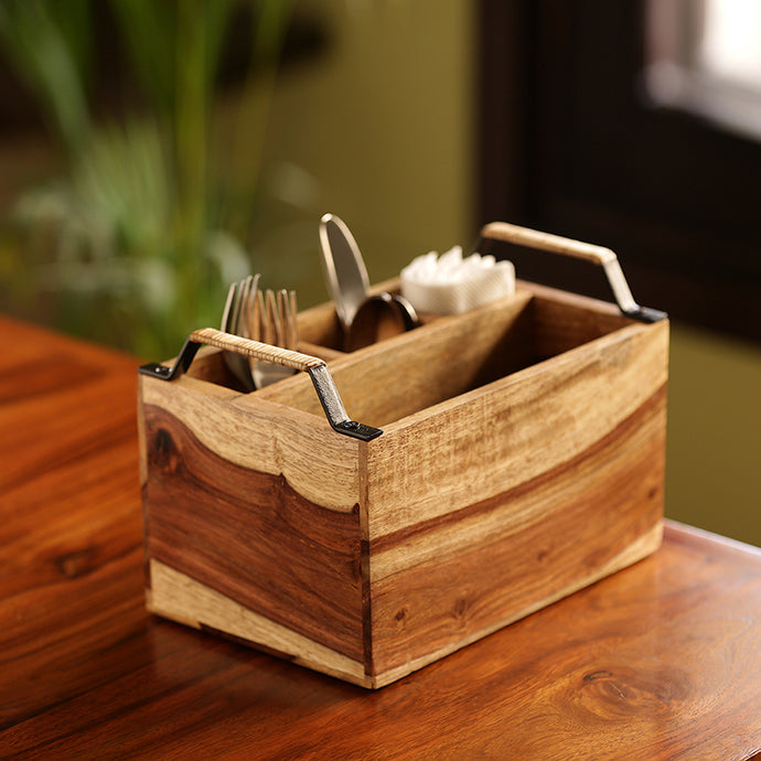Cane Handwoven Cutlery & Napkin Holder In Sheesham Wood & Iron