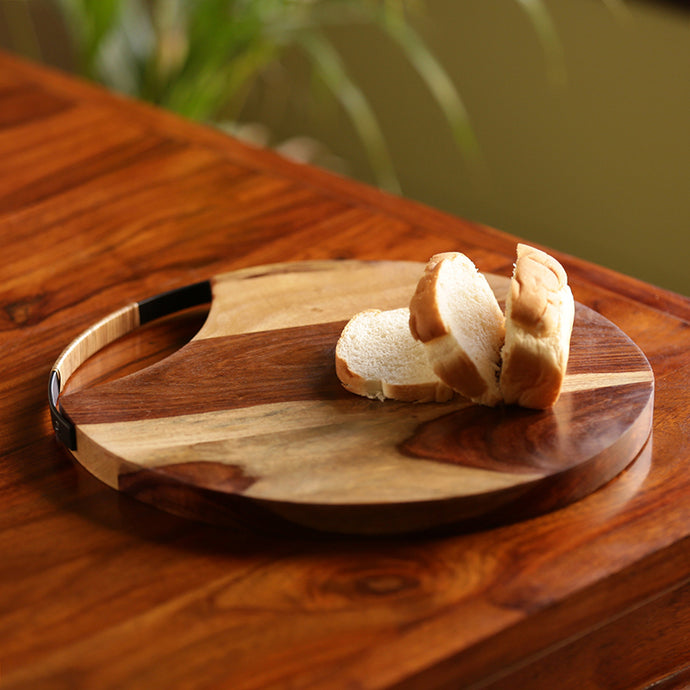 Cane Handwoven Chopping Board In Sheesham Wood & Iron