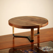Load image into Gallery viewer, Cane Handwoven Cake Stand In Sheesham Wood & Iron