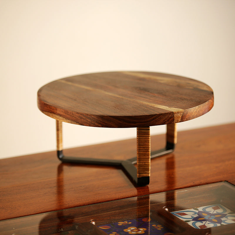 Cane Handwoven Cake Stand In Sheesham Wood & Iron