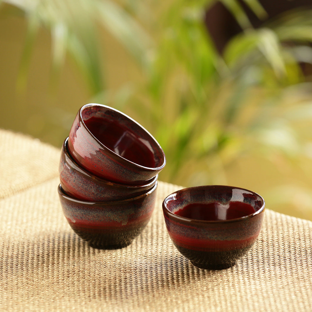 'Crimson Shields' Hand Glazed Studio Pottery Ceramic Dining Bowls Set (3.3 Inch, Set Of 4)