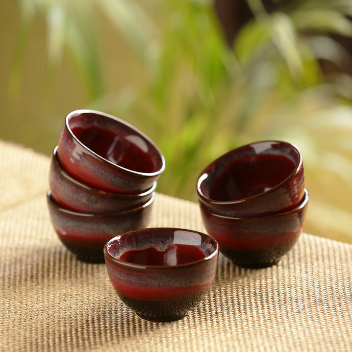 'Crimson Shields' Hand Glazed Studio Pottery Ceramic Dining Bowls Set (3.3 Inch, Set Of 6)