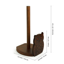 Load image into Gallery viewer, 'Owl 'n' Roll' Paper Roll Holder With Hand Carved Owl Motif In Sheesham Wood
