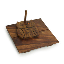 Load image into Gallery viewer, 'Owl On Board' Tissue Holder With Hand Carved Owl Motif In Sheesham Wood