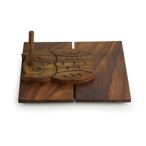 'Owl On Board' Tissue Holder With Hand Carved Owl Motif In Sheesham Wood