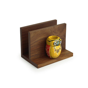 'An Owl's Vibrance' Handmade Tissue Holder With Handcrafted Owl Motif Toothpick Holders In Sheesham Wood