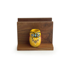 Load image into Gallery viewer, 'An Owl's Vibrance' Handmade Tissue Holder With Handcrafted Owl Motif Toothpick Holders In Sheesham Wood