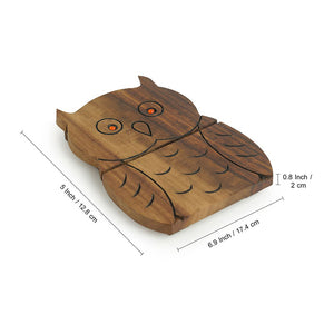 'A Happy-Go-Lucky Owl' Trivet With Hand Carved Owl Motif In Sheesham Wood