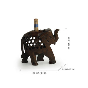 'The Majestic Elephant' Hand Carved & Hand Painted Toothpick Holder Cum Showpiece In Cedar Wood