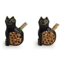 Load image into Gallery viewer, 'Curious Felines' Hand Carved & Hand Painted Toothpick Holder Cum Showpiece In Cedar Wood
