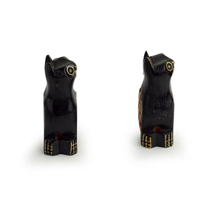 'Curious Felines' Hand Carved & Hand Painted Toothpick Holder Cum Showpiece In Cedar Wood