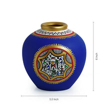 Load image into Gallery viewer, Terracotta Handpainted Warli Vase Matki Blue 6 Inch