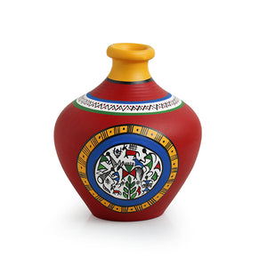 Terracotta Handpainted Warli Vase Matki Neck Red 6 Inch